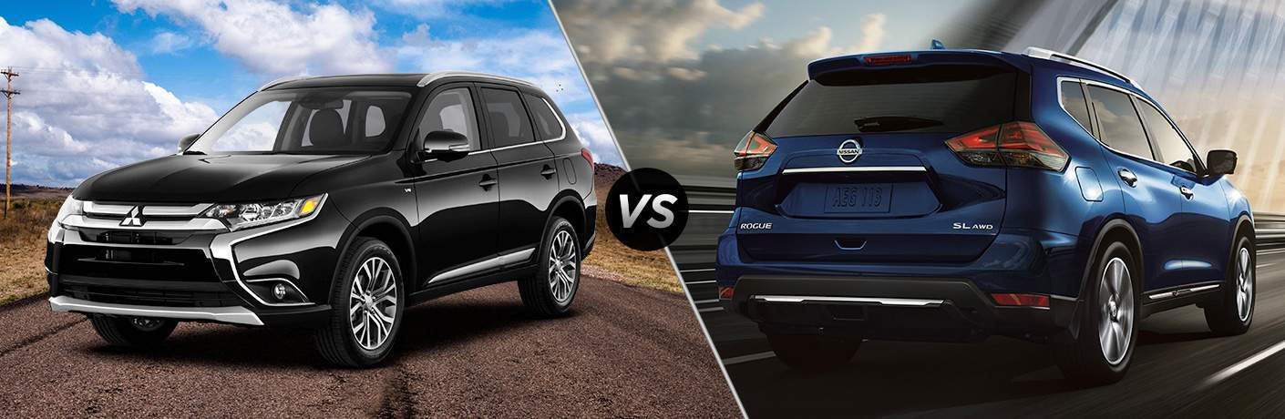 "Black 2018 Mitsubishi Outlander on left ""vs"" Blue 2018 Nissan Rogue on right"
