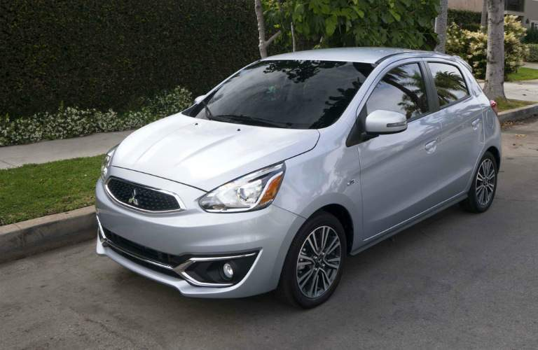 Silver 2018 Mitsubishi Mirage parked in residential area