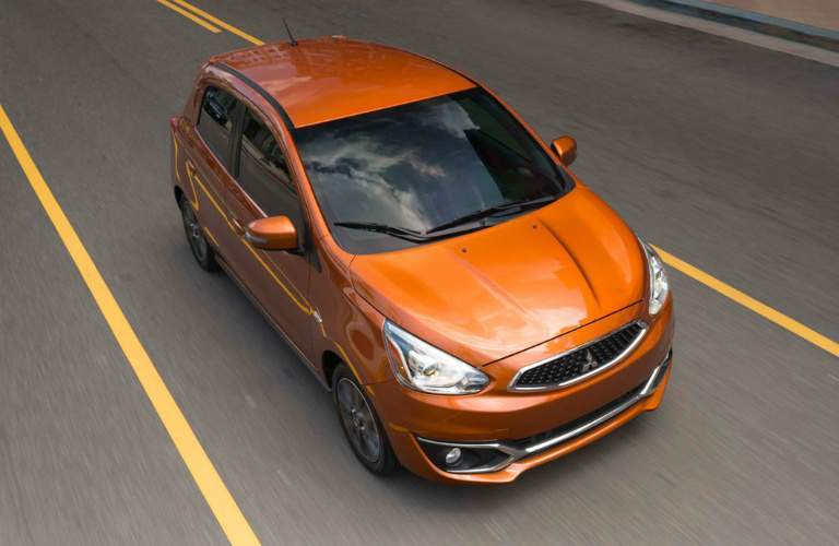 Overhead view of 2018 Mitsubishi Mirage driving