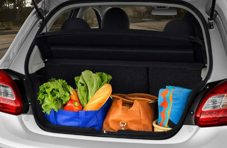 Groceries in the back of a 2018 Mitsubishi Mirage