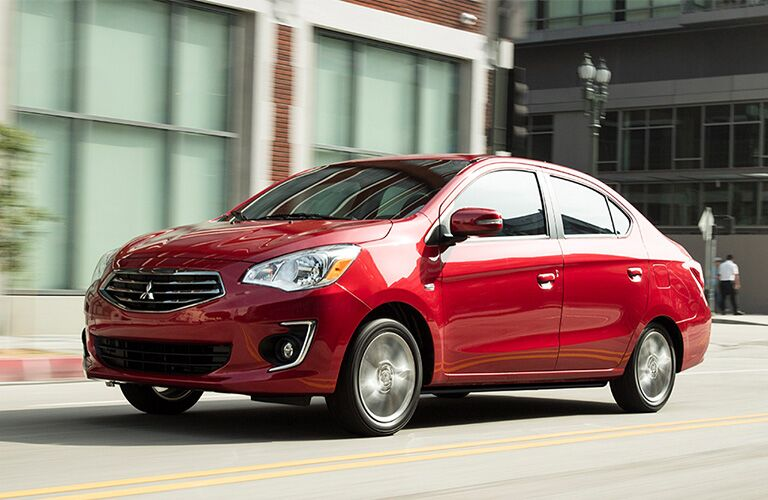 front and side view of red 2019 mitsubishi mirage g4
