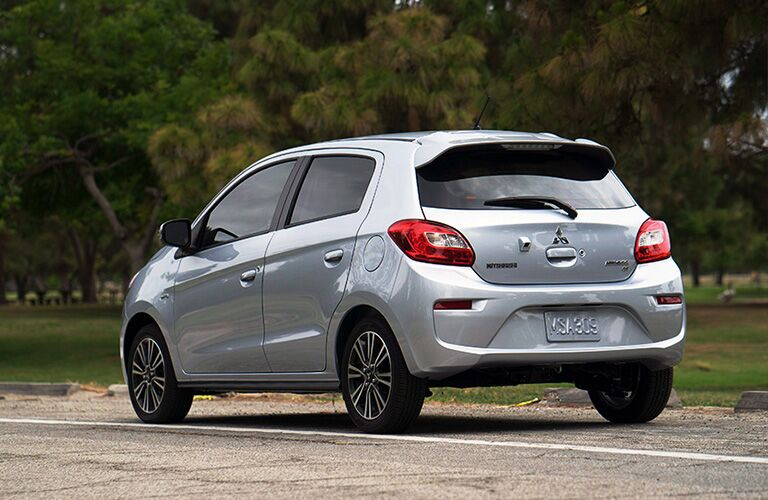 rear and side view of silver 2019 mitsubishi mirage