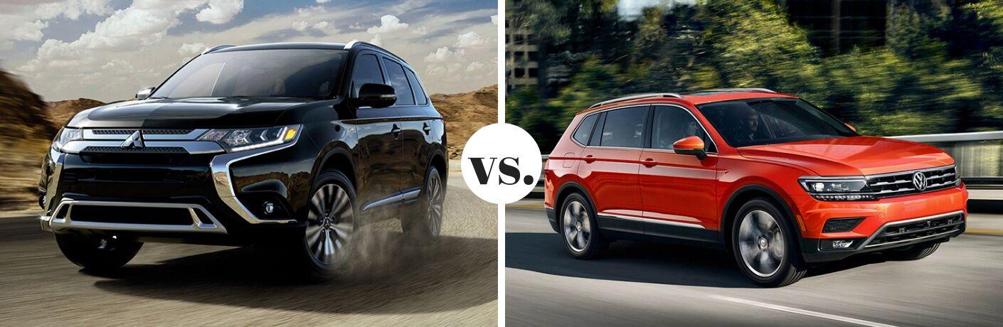 2019 Mitsubishi Outlander and 2019 Volkswagen Tiguan in comparison image