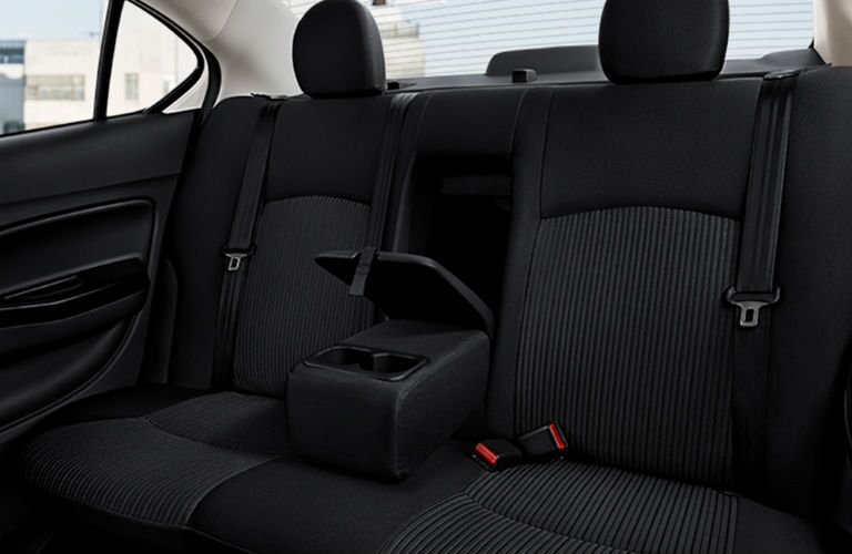 2019 Mitsubishi Mirage G4 rear seat with arm rest pulled down