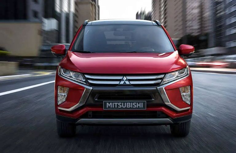 front view of mitsubishi eclipse cross in city street
