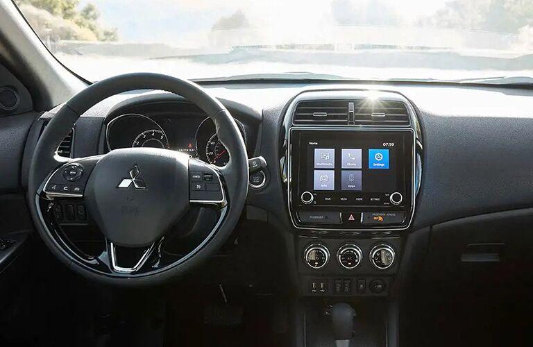 mitsubishi outlander sport steering wheel and infotainment display