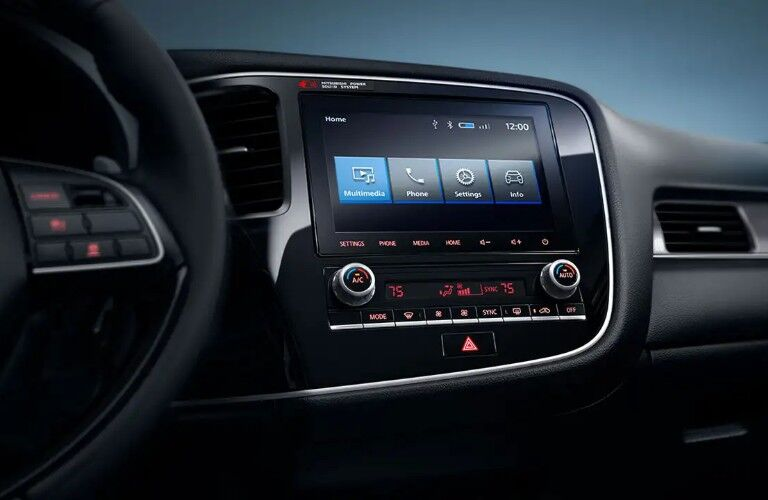 Close up of the Smartphone Link Display Audio System inside the 2020 Mitsubishi Outlander