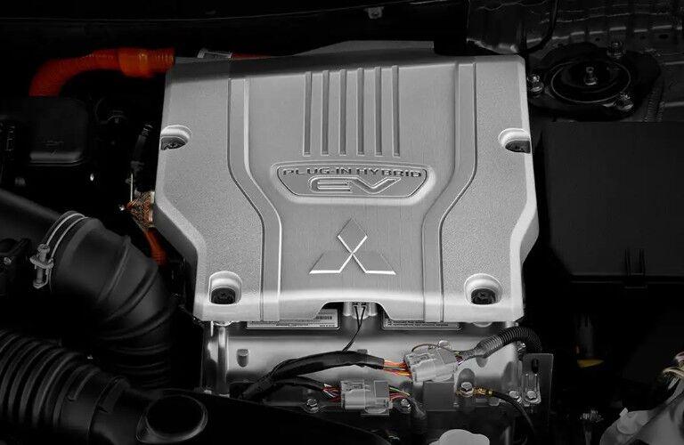Close up of the hybrid engine inside the 2020 Mitsubishi Outlander PHEV