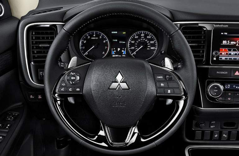 Steering wheel controls and driver information center of the 2018 Mitsubishi Outlander
