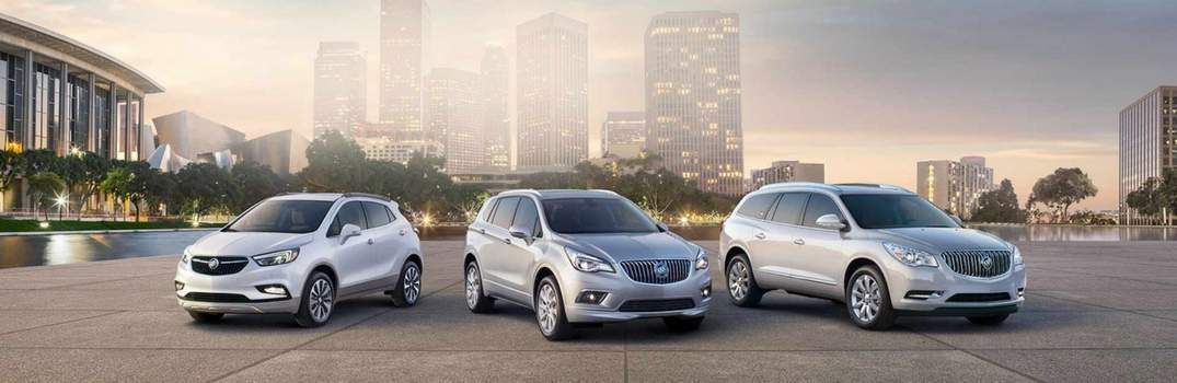 Buick Encore, Buick Envision, and Buick Enclave in a row