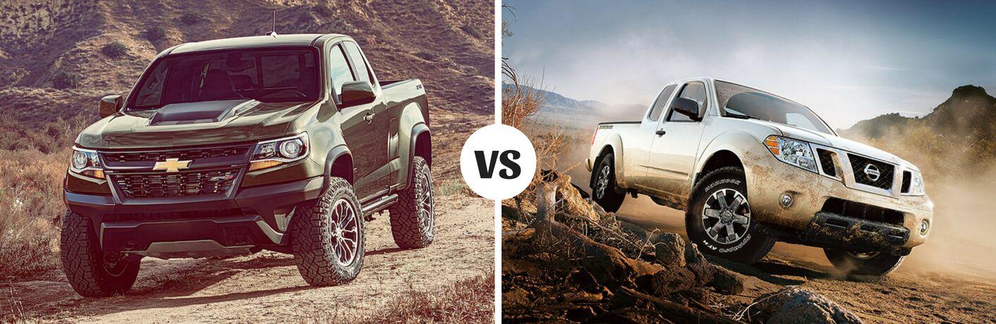 Comparison image of a dark green 2018 Chevrolet Colorado and a Silver 2018 Nissan Frontier