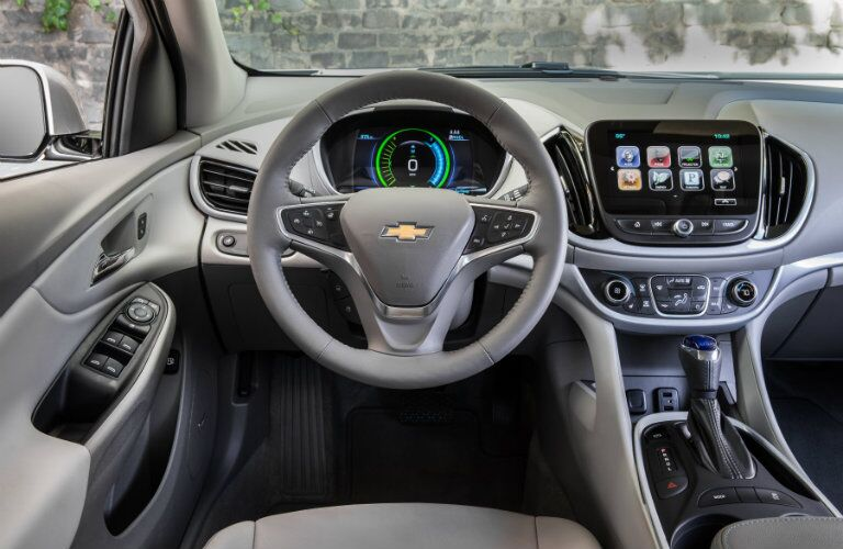 Close up of the steering wheel and touch screen of the Chevy Volt