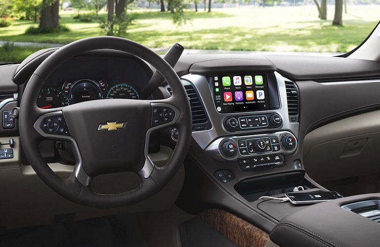 Steering wheel and touch screen inside the 2018 Chevrolet Suburban