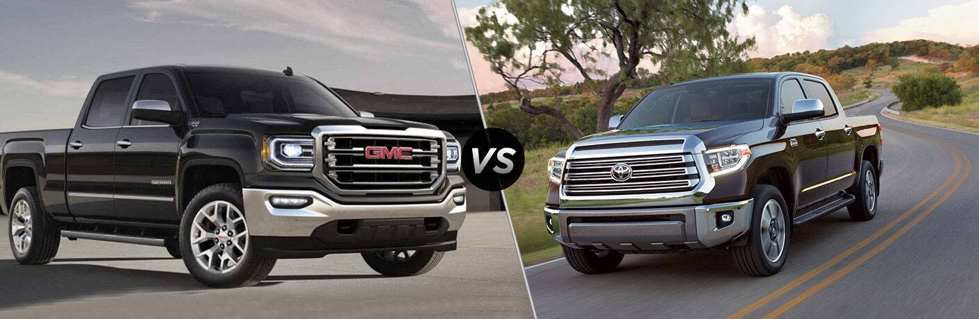 2018 GMC Sierra on the left, 2018 Toyota Tundra on the right