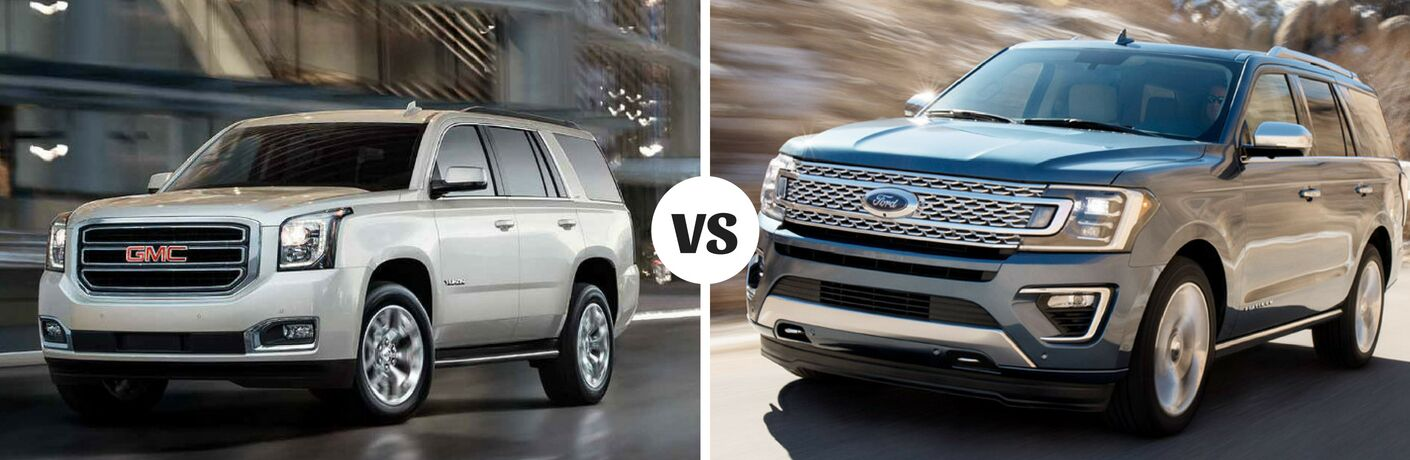 Comparison image of a silver 2018 GMC Yukon vs a black 2018 Ford Expedition