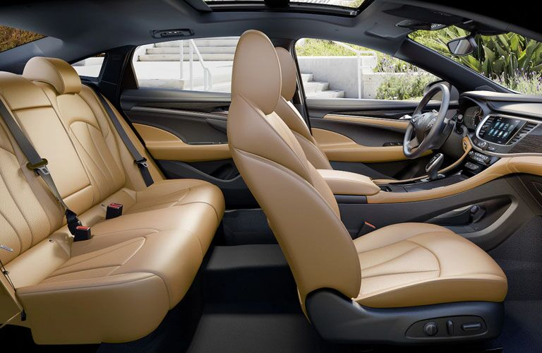 Interior view of the light brown seating of a 2019 Buick LaCrosse
