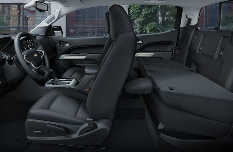 Interior view of the front and rear seating inside a 2019 Chevrolet Colorado