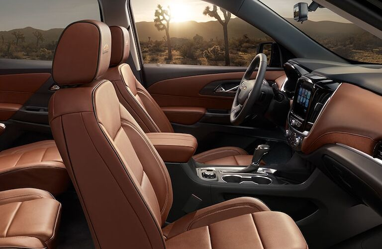 Interior view the brown seating inside a 2019 Chevrolet Traverse