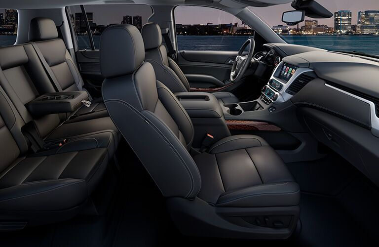 Interior view of the black seating inside a 2019 GMC Yukon