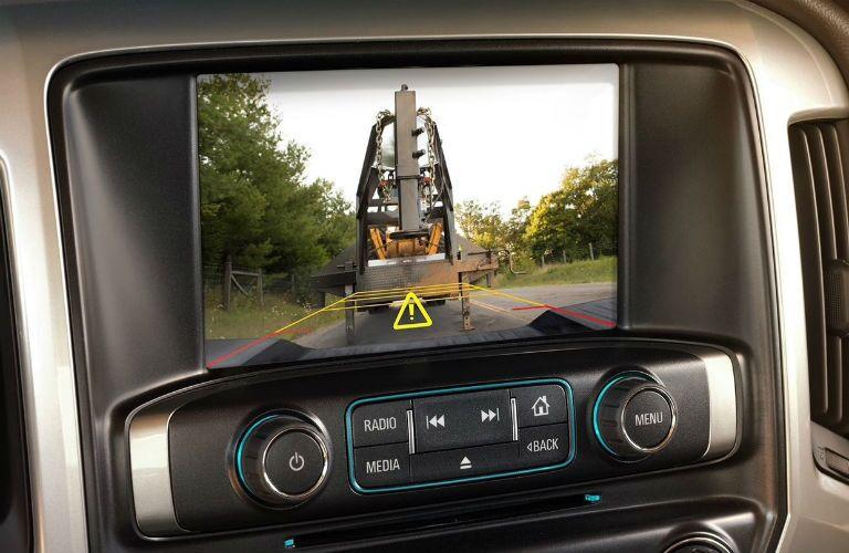 Closeup view of the rear vision camera inside a 2019 Chevrolet Silverado HD