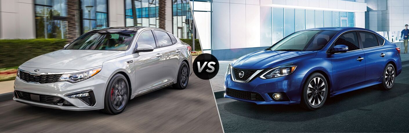 "White 2019 Kia Forte and blue 2019 Nissan Sentra, separated by a diagonal line and a ""VS"" logo."