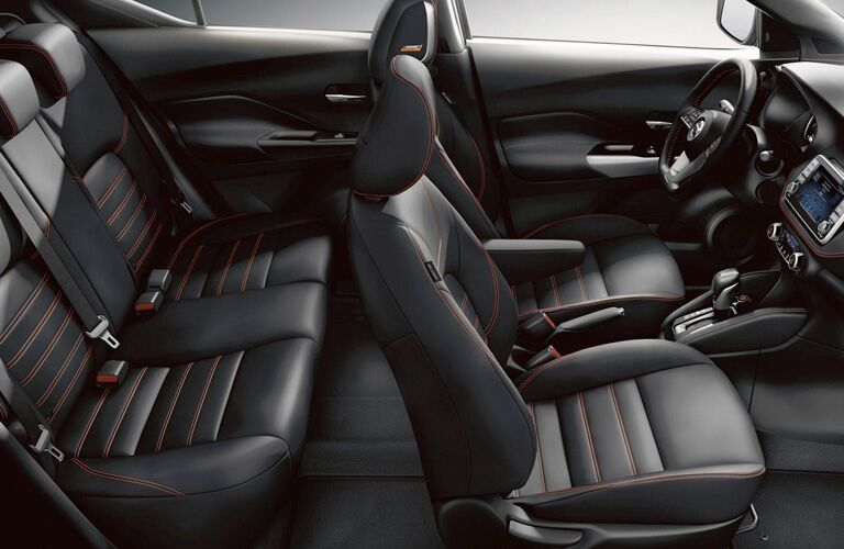 Passenger view of the black interior in the 2019 Nissan Kicks