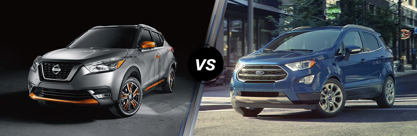 Front driver angle of a gray and orange 2019 Nissan Kicks on left VS front driver angle of a blue 2019 Ford EcoSport on right
