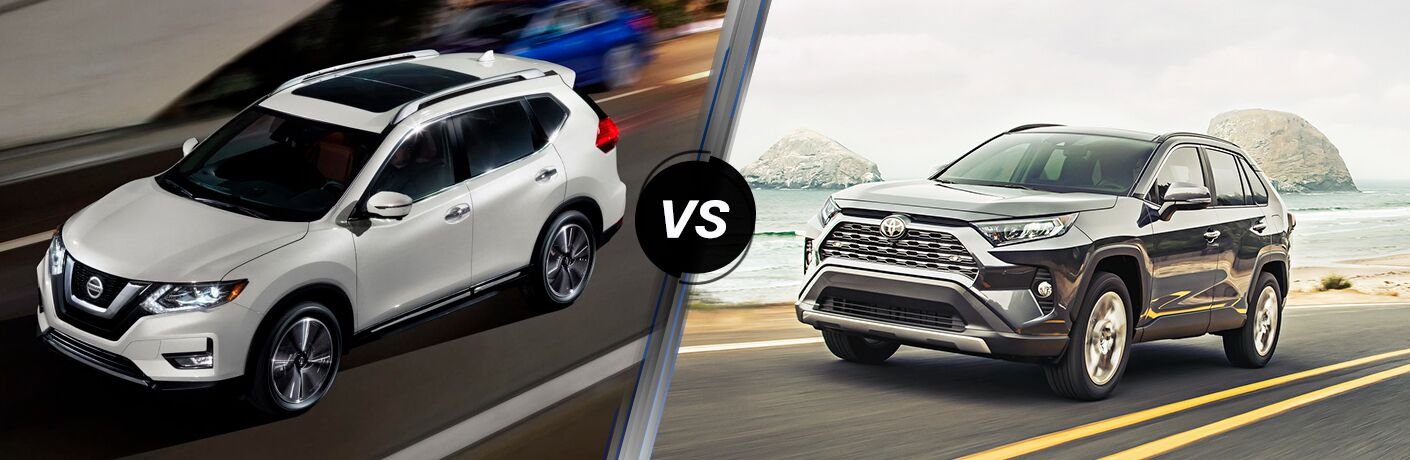"""2019 Nissan Rogue and 2019 Toyota RAV4, separated by a diagonal line and """"VS"""" logo."""