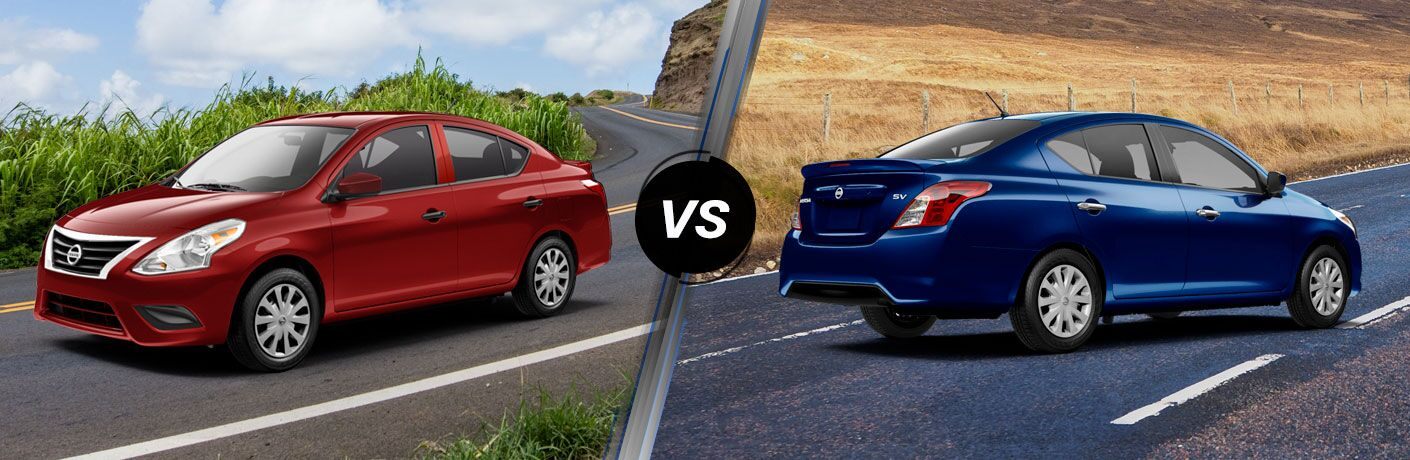 A side-by-side comparison of the 2019 Nissan Versa S Plus vs. 2019 Nissan Versa SV.