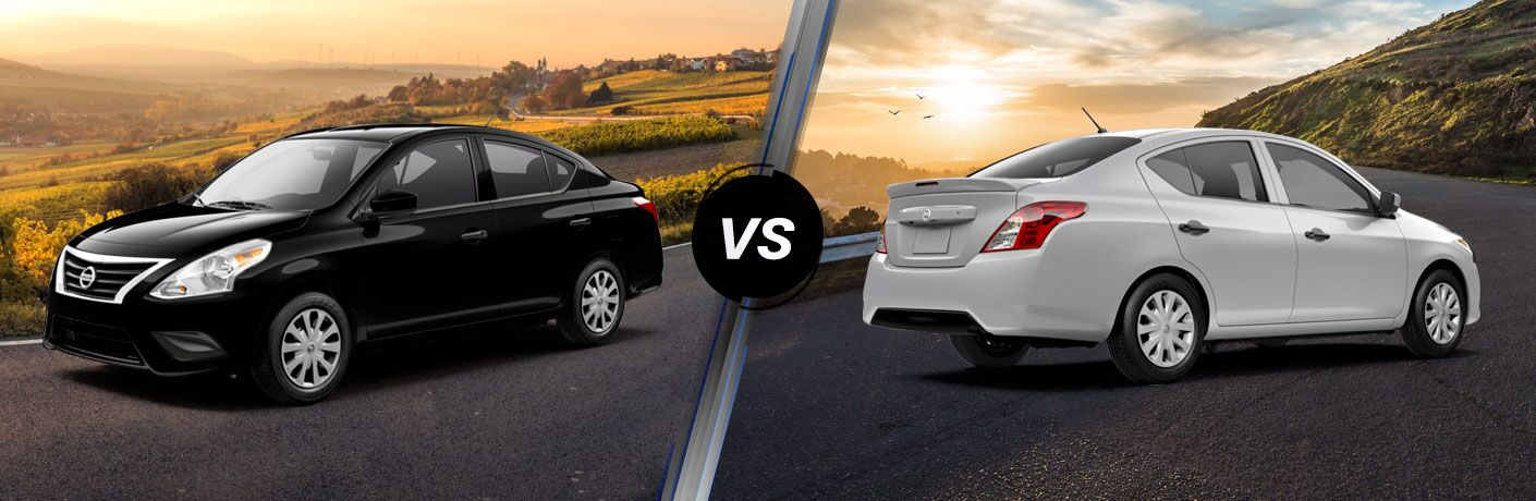 A side-by-side comparison of the 2019 Nissan Versa S vs. 2019 Nissan Versa S Plus.