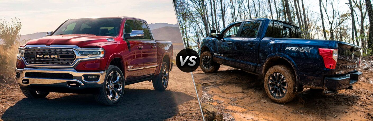 """Red 2019 Ram 1500 and blue 2019 Nissan Titan, both off-roading, separated by a diagonal line and a """"VS"""" logo."""