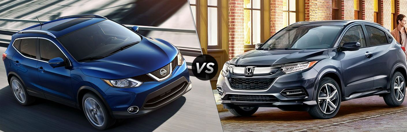 "Blue 2019 Nissan Rogue Sport and 2019 Honda HR-V, separated by a diagonal line and a ""VS"" logo."