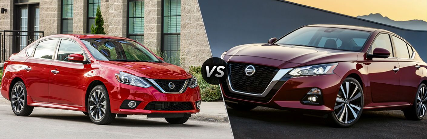 "2019 Nissan Sentra and 2019 Nissan Altima, separated by a diagonal line and a ""VS"" logo."