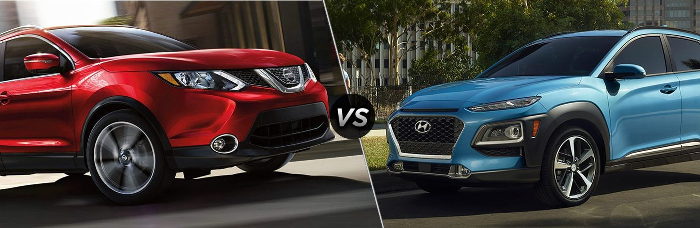 "Red 2019 Nissan Rogue Sport and blue 2019 Hyundai Kona, separated by a diagonal line and a ""VS"" logo."