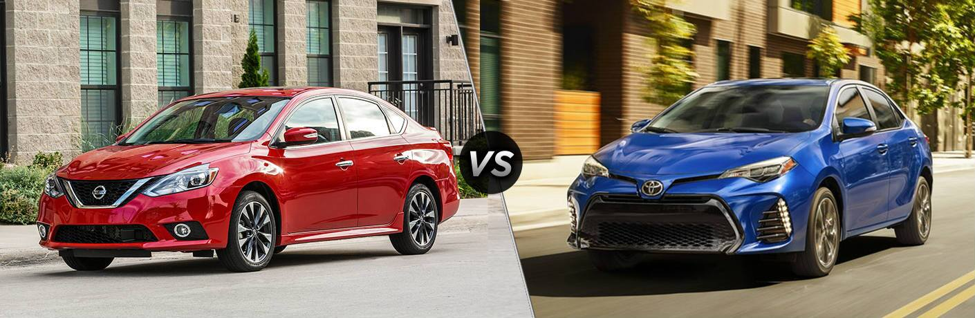 "Red 2019 Nissan Sentra drives down a road. A blue 2019 Toyota Corolla also drives down a road. The two are separated by a diagonal line and a ""VS"" logo."