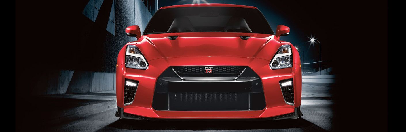 front view of red nissan gt-r