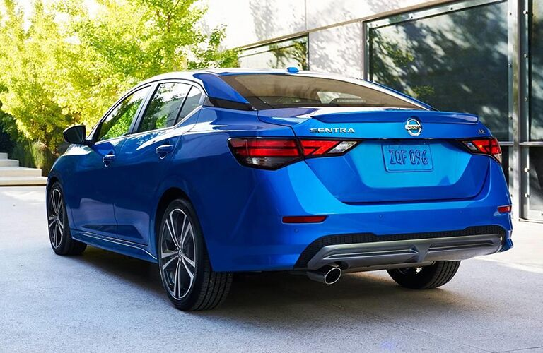 rear view of blue nissan sentra