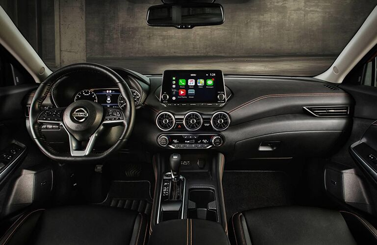 nissan sentra infotainment screen and steering wheel