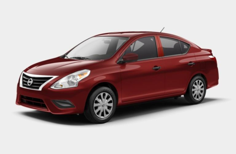 A left profile photo of the 2019 Nissan Versa S Plus.