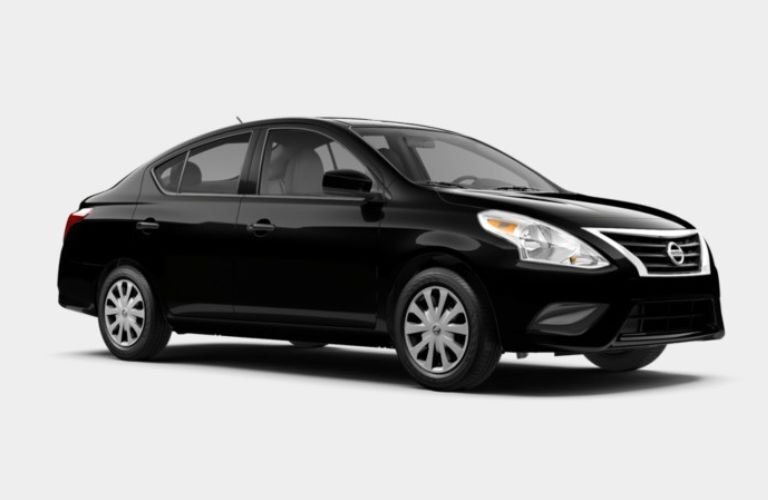 A front right quarter photo of the 2019 Nissan Versa S sedan.