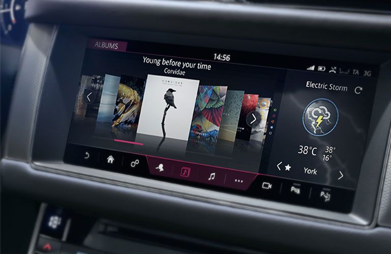 Isolated view of Jaguar XF infotainment touchscreen interface