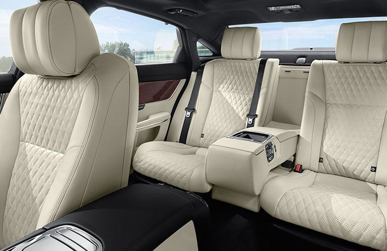 Three leather seats inside 2018 Jaguar XJ