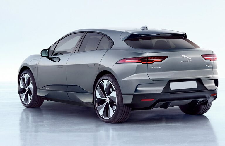 Rear shot of 2019 Jaguar I-PACE on silver background