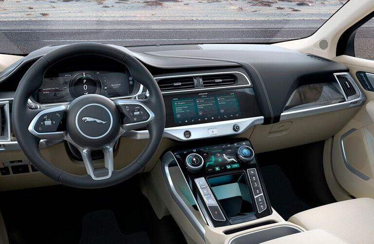 Interior shot of 2019 Jaguar I-PACE with floating center console prominent