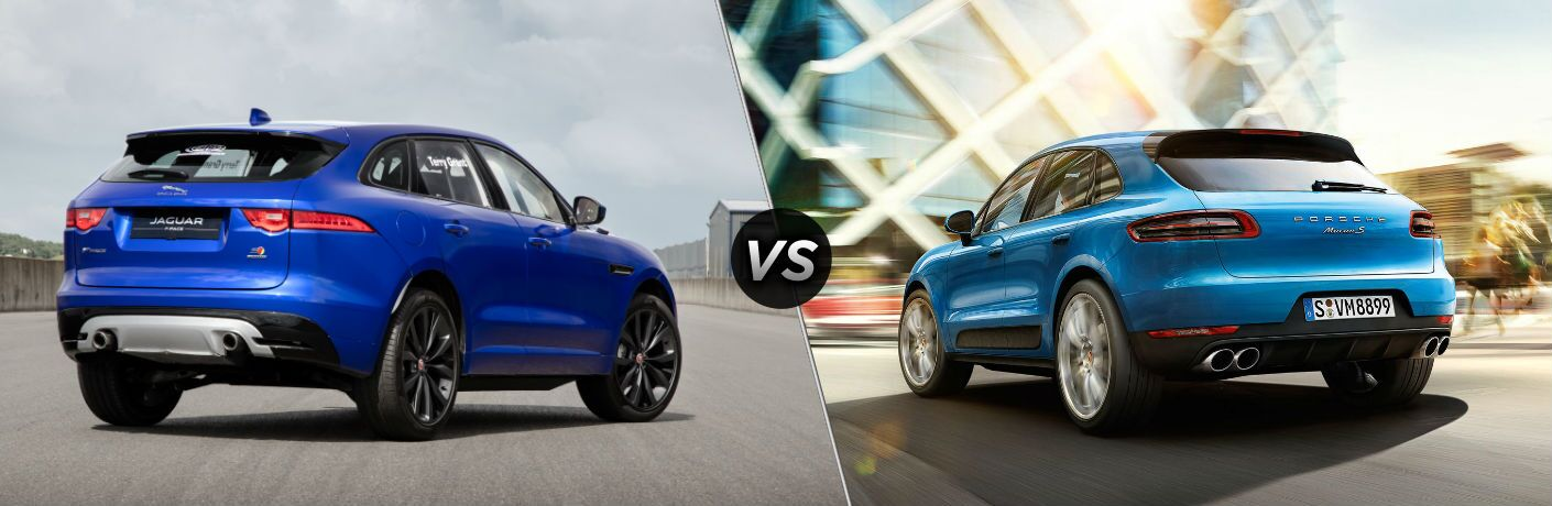 2018 Jaguar F-PACE Exterior Passenger Side Rear vs 2018 Porsche Macan Exterior Driver Side Rear