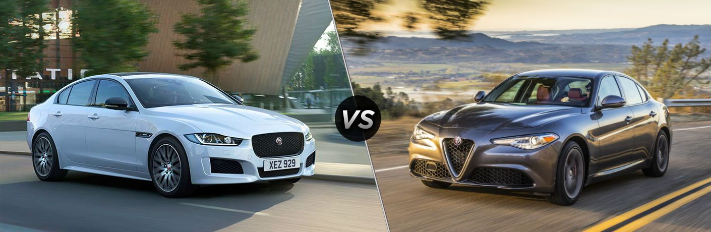 2018 Jaguar XE Exterior Passenger Side Front Profile vs 2018 Alfa Romeo Giulia Exterior Driver Side Front Profile