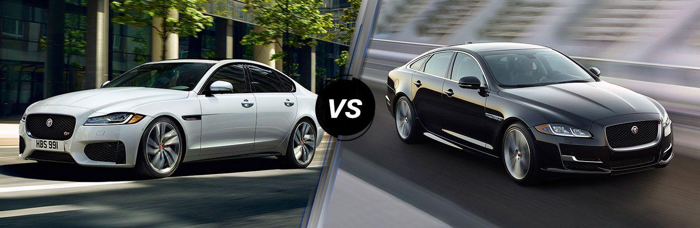 2018 Jaguar XF Exterior Driver Side Front Profile vs 2018 Jaguar XJ Exterior Passenger Side Front Profile