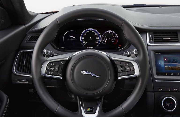 Steering wheel mounted controls and driver information cluster of the 2018 Jaguar E-Pace