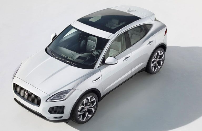 Overhead exterior view of a white 2018 Jaguar E-Pace