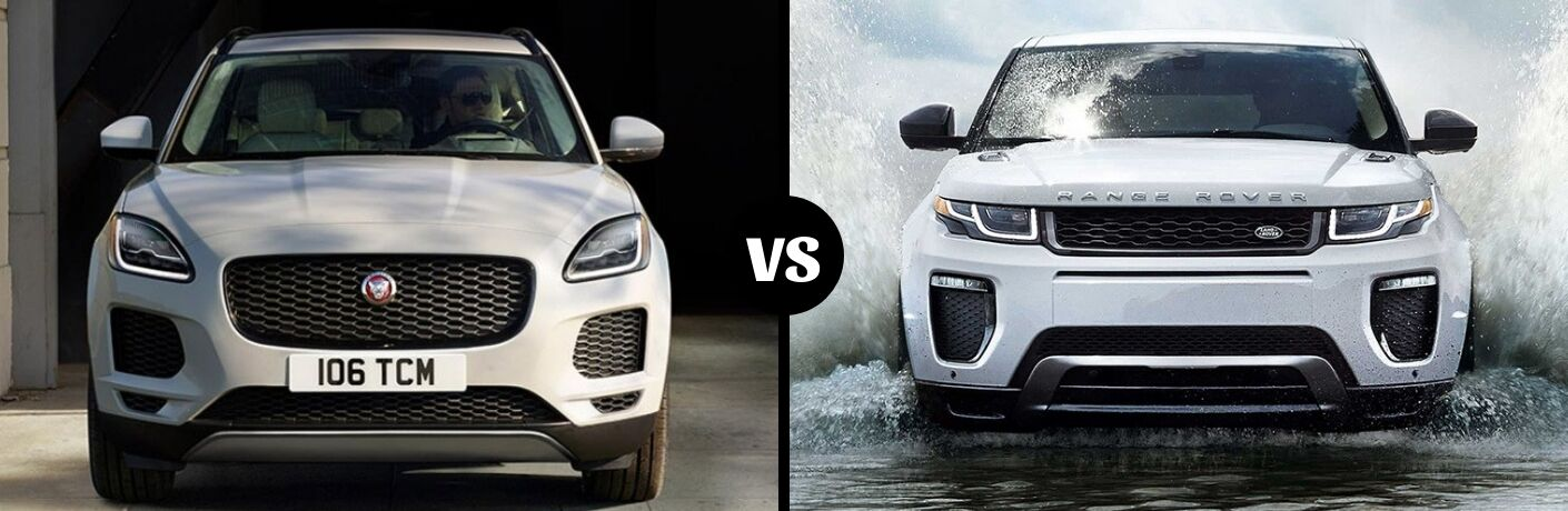 Comparison image of a silver 2019 Jaguar E-Pace and a white 2019 Land Rover Range Rover Evoque